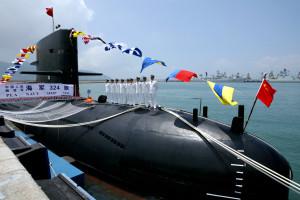 A Chinese Naval submarine docks at the Ngong Shuen Chau Naval Base in Hong Kong April 30, 2004. [Chi..